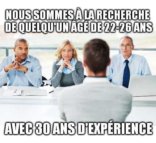 nous sommes à la recherche de quelqu'un âgé de 22-26 ans avec 30 ans d'expérience